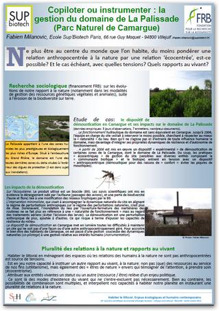 Présentation aux Journées scientifiques de la Société d'Ecologie Humaine.