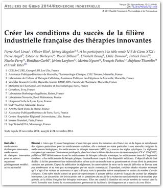 Réflexion sur la Création d'une Filière Industrielle en Thérapie Cellulaire