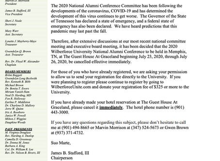 The 2020 National Alumni Conference - Cancelled