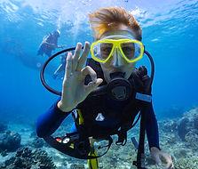 Close up of scuba diver underwater