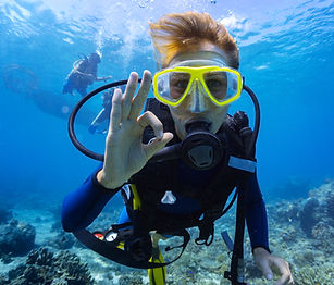 Close up of scuba diver underwater