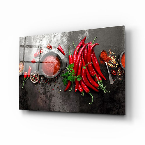 Red Peppers Glass Printing