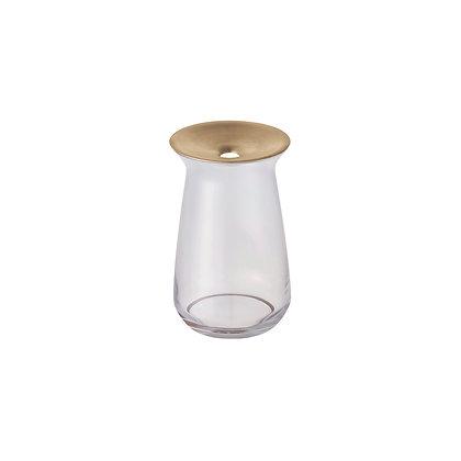 Vase Transparent Luna en verre et laiton Kinto