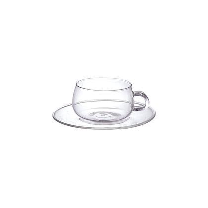 Tasse et soucoupe en verre UNITEA 230ml Kinto Japan