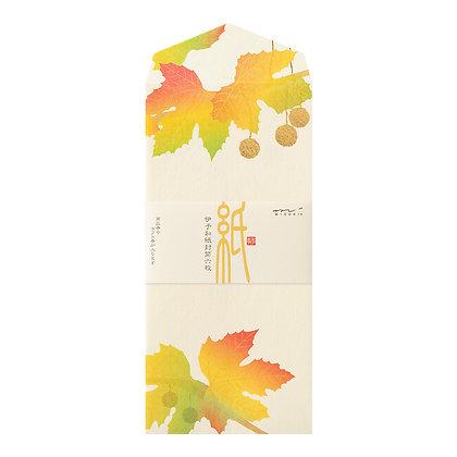 Enveloppes MIDORI, feuilles de platanes