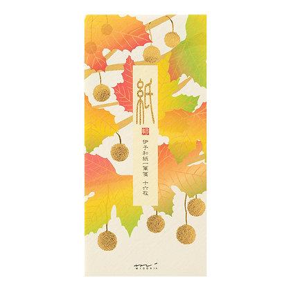 Papier à lettres MIDORI , petit format, feuilles de platanes