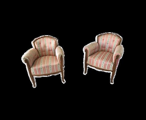 Paire de fauteuils art déco tonneau chauffeuse