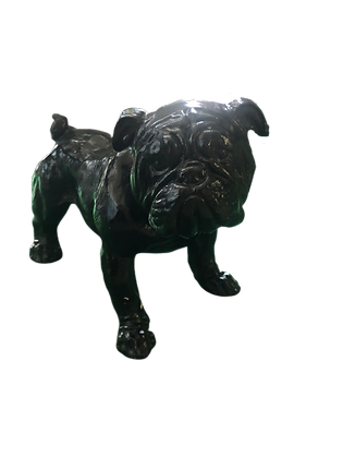 Small black resin bulldog