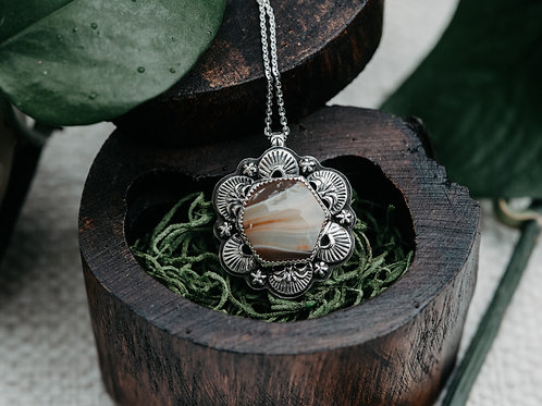 Agate Hexagon Stamped Necklace