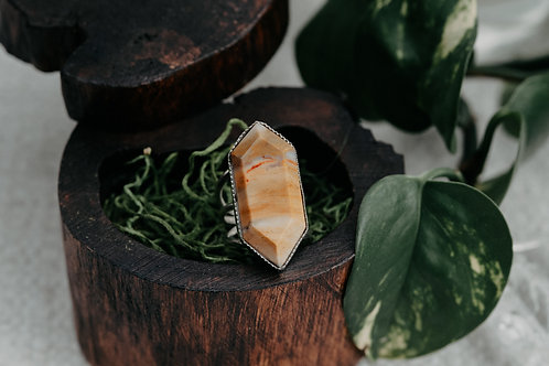 Double Point Agate Ring