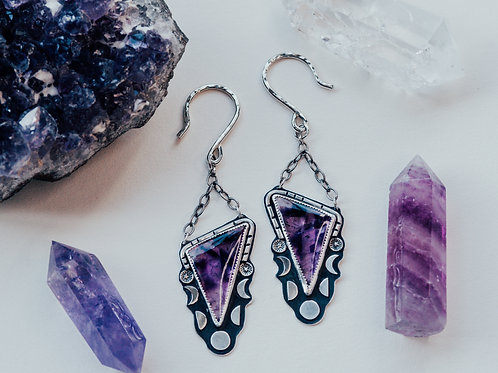 Amethyst Moon Phase Ear Weights