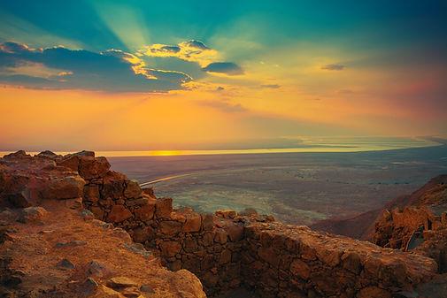 Beautiful sunrise over Masada fortress.