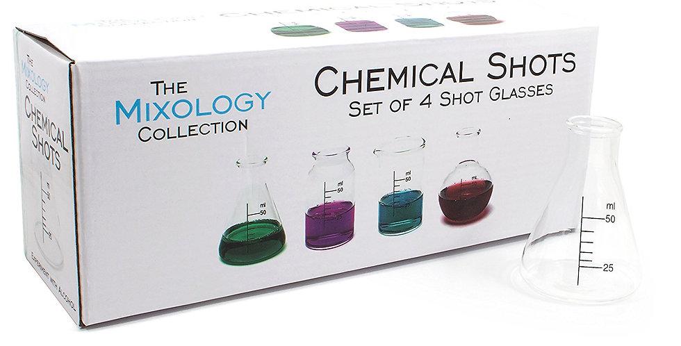 MIXOLOGY CHEMICAL SHOT GLASSES SET OF 4