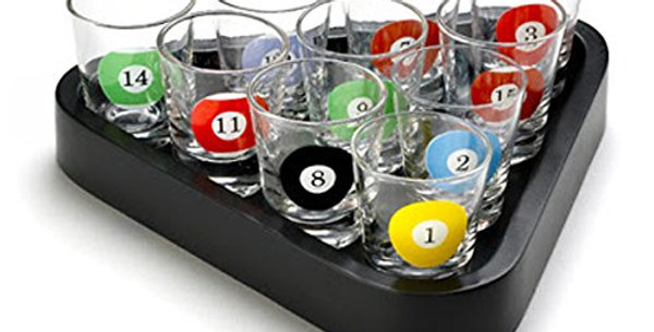 Table Billiards Shot Glasses with Triangle Ball Rack Serving Tray (Set of 10)