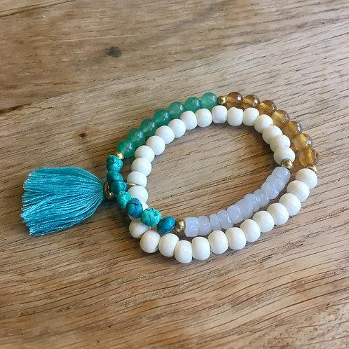 Turquoise Tassel Stretch Bracelet