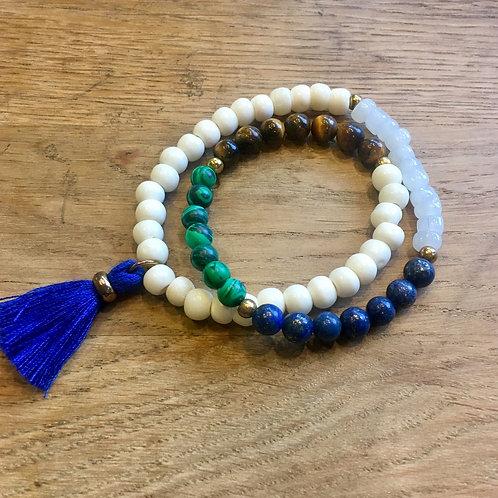Royal Blue Tassel Stretch Bracelet