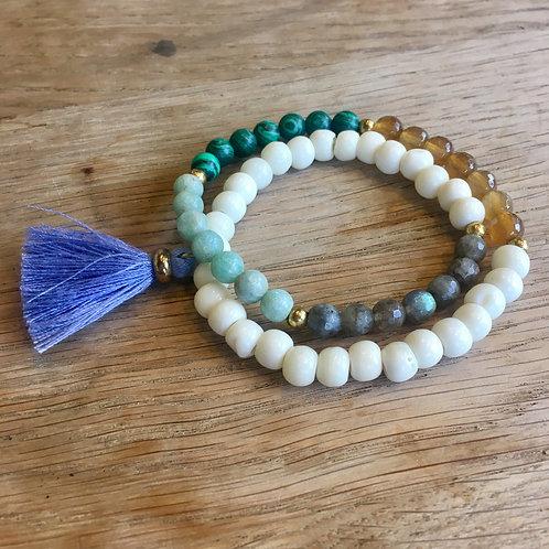 Light Blue Tassel Stretch Bracelet