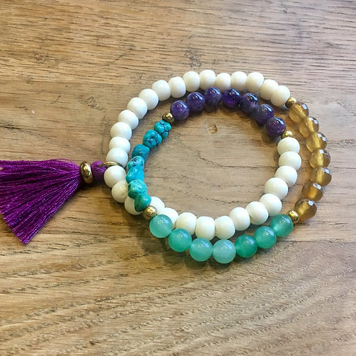 Royal Purple Tassel Stretch Bracelet