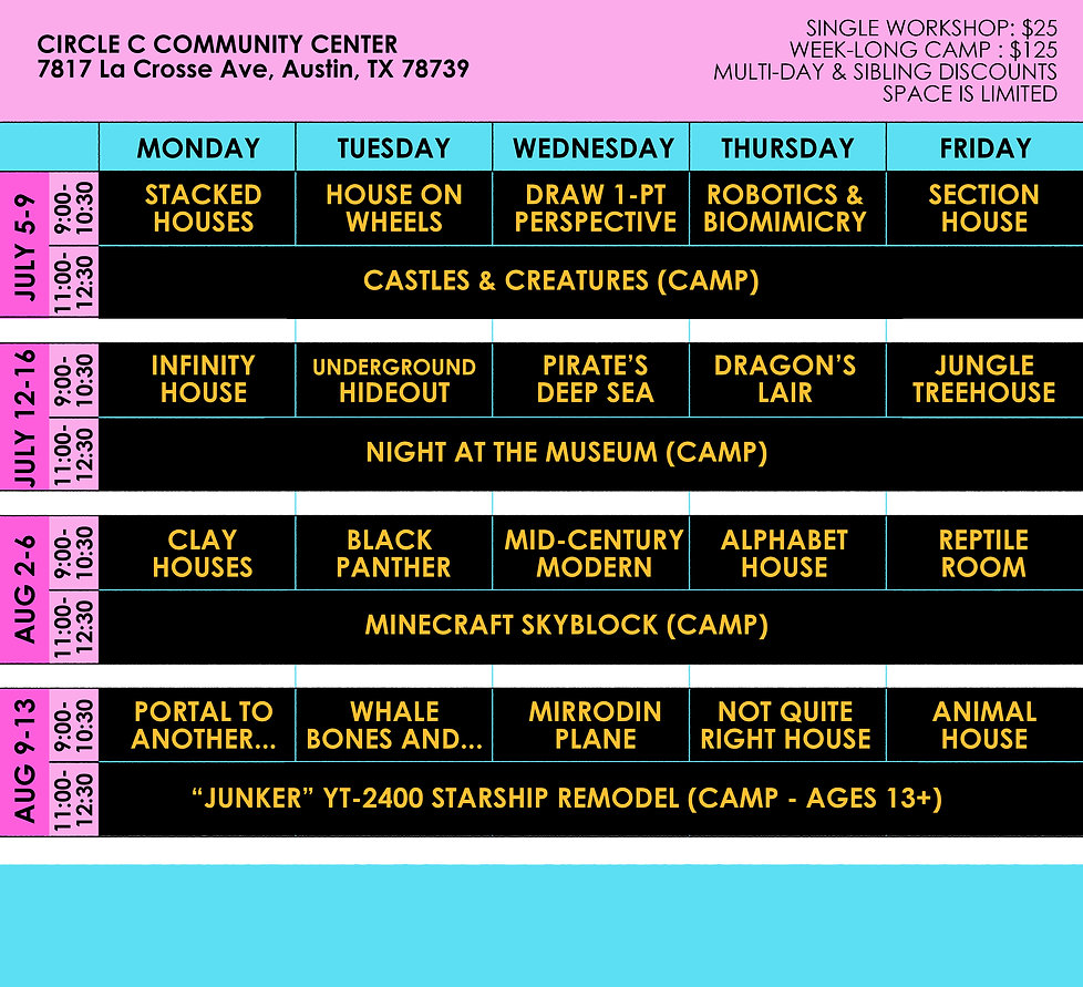 Summer Camp Flyer Schedule 2021 for Webs