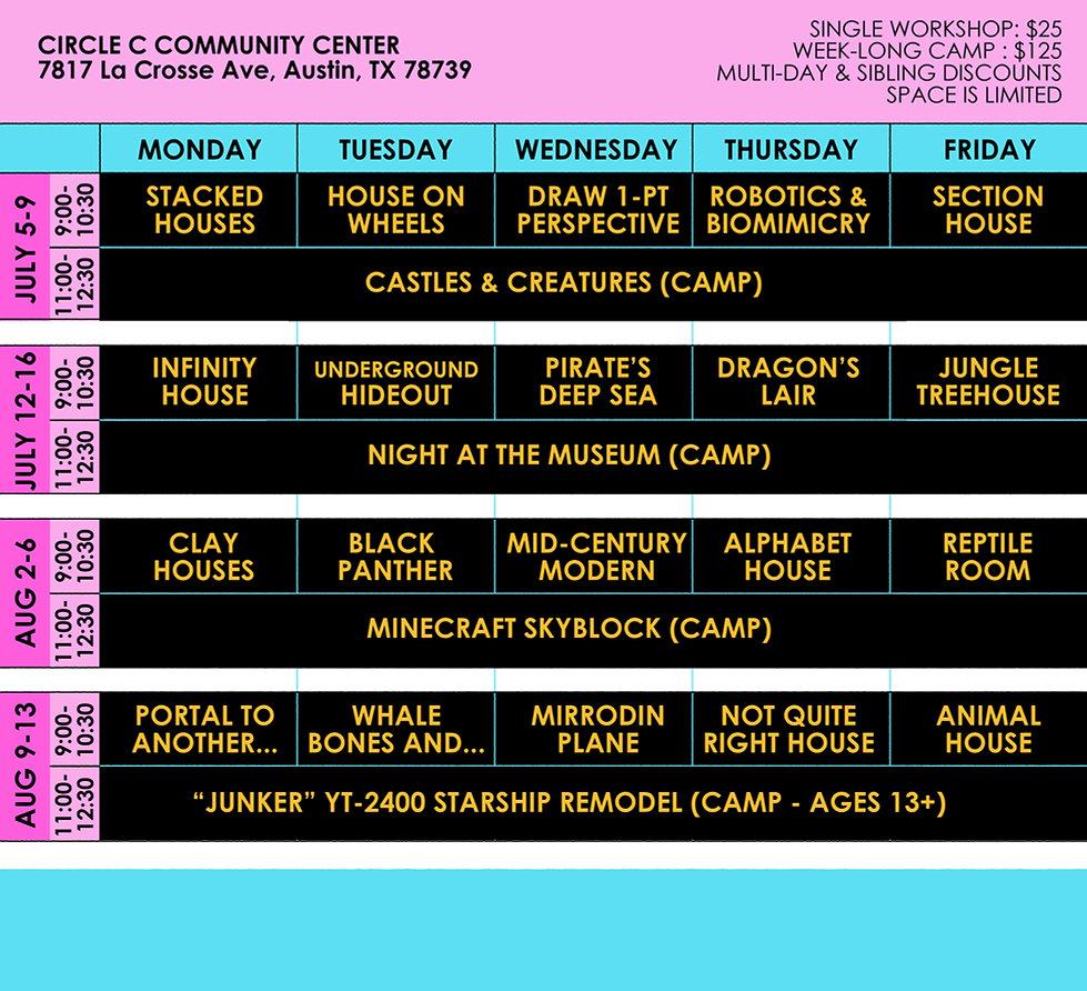Summer Camp Flyer Schedule 2021 for Webs