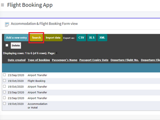 Enabling the Search function on Form View