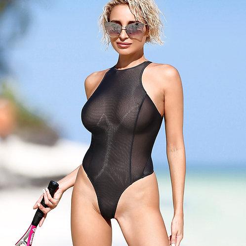 Черный обтягивающий прозрачные купальник с высоким вырезом на бедрах Горячее модное откровенное боди с открытой спиной