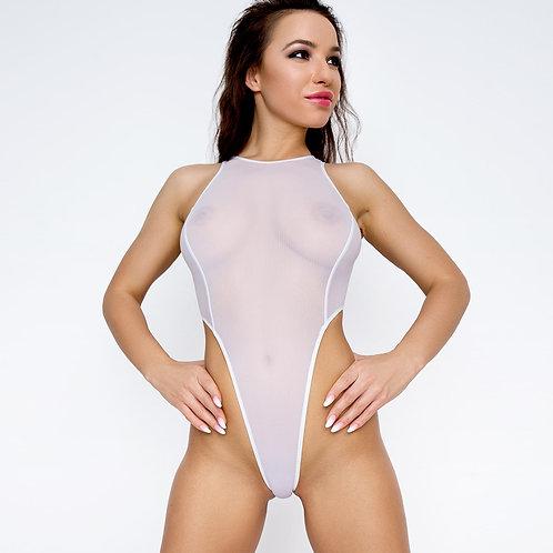 елый прозрачный сексуальный купальник с высоким вырезом на бедрах Модное красивое откровенное эротическое экстрим монокини