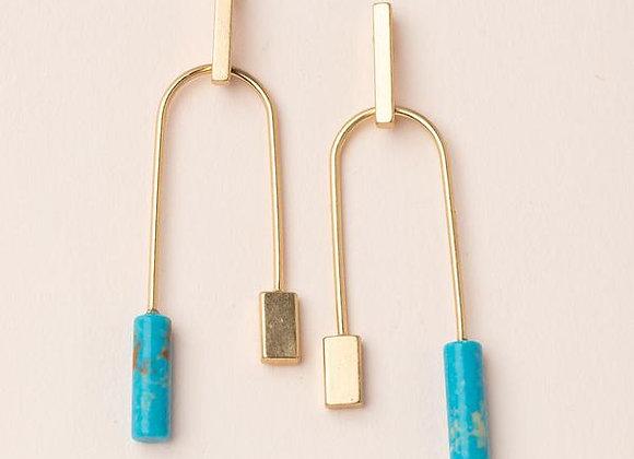 Stone Balance Earring Turquoise Gold