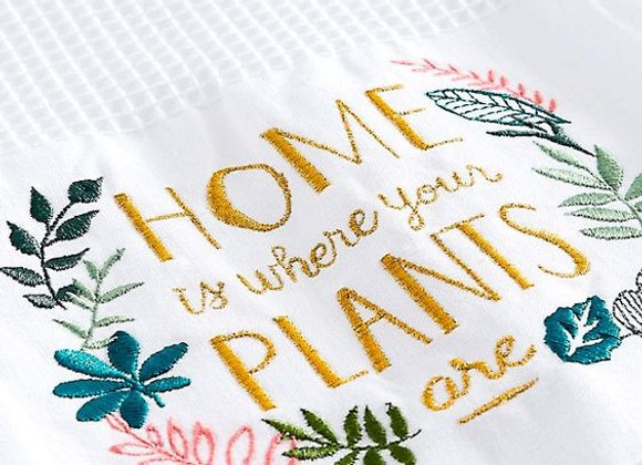 """Home is Where Your Plants Are"" Waffle Tea Towel"