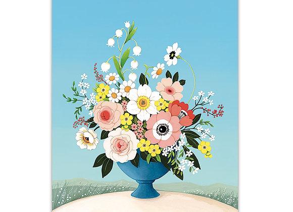 Flower Vase Blue Card
