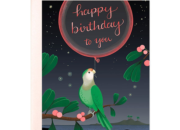 Green Parrot Neon Birthday Card