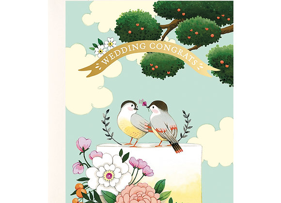 Birds On Wedding Cake Card