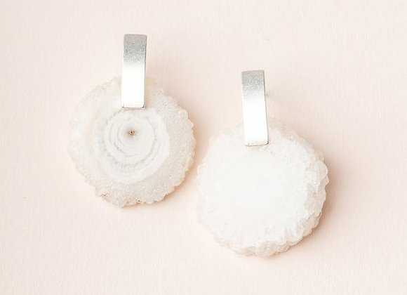 Stone Slice Earring White Quartz Silver