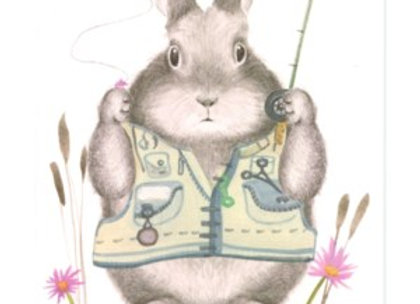 Father's Day Fishing Bunny Card