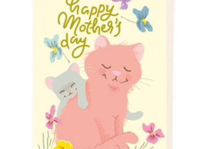 Mother & Baby Grey Cat Card