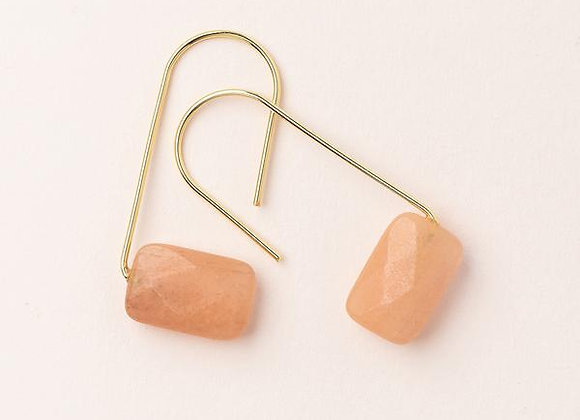 Floating Stone Earring Sunstone Gold