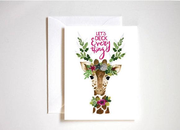 Stephanie Tara Stationery - Deck the Giraffe Holiday Card
