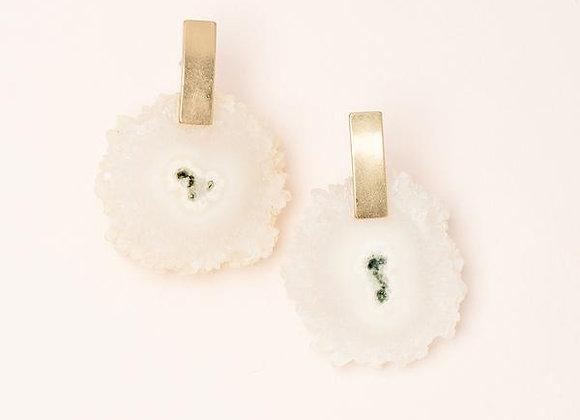 Stone Slice Earring White Quartz Gold