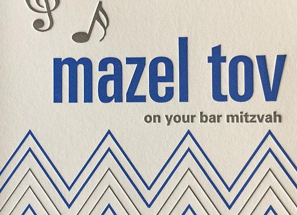 Bar Mitzvah Musical Notes Card