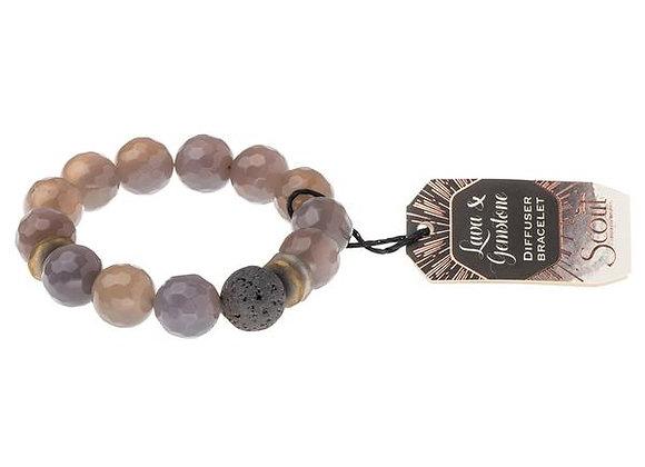Lava & Gemstone Diffuser Bracelet Gray Agate