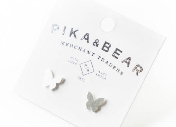 Levar Butterfly Silhouette Stud Earrings Silver