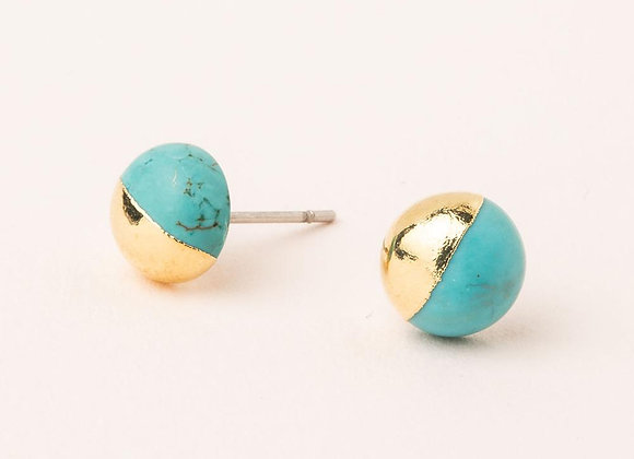 Dipped Stone Stud Turquoise Gold