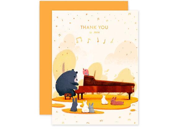 Pianist Bear Thank You Card
