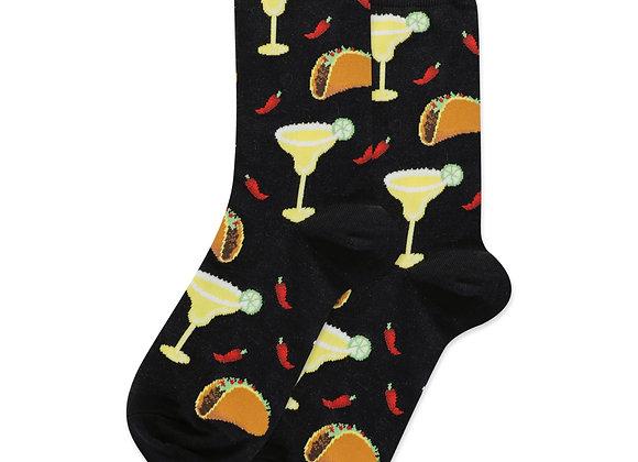 Women's Crew Socks Margarita & Taco