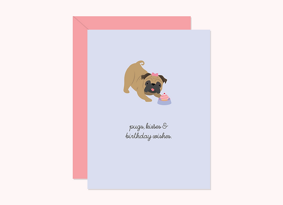 Pugs Kisses & Birthday Card by Halifax Paper Hearts