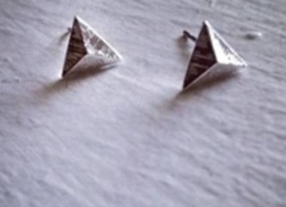 Isoceles Pyramid Stud Earrings Silver