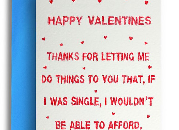 Able To Afford Valentines Card