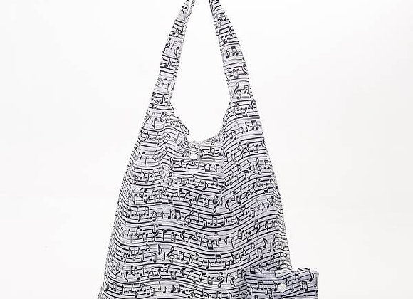 Shopping Tote - White Music Notes