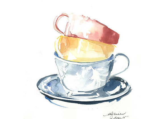 Teacups Blank Card by Niki Kingsmill