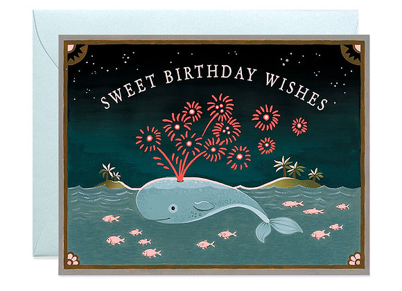 Whale Neon Birthday Card
